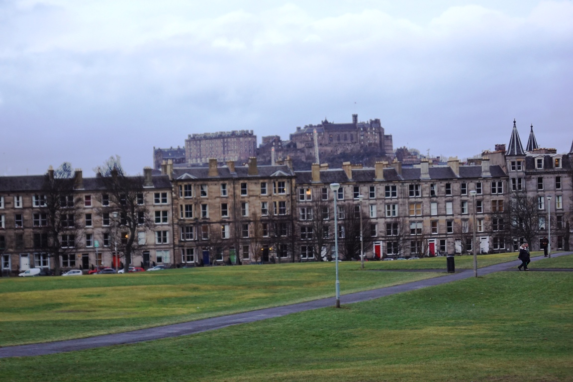 Looking towards Edinburgh Castle as you enter The Meadows from Bruntsfield Links